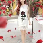 Váy in hoa hồng phong cách Docle&Gabbana
